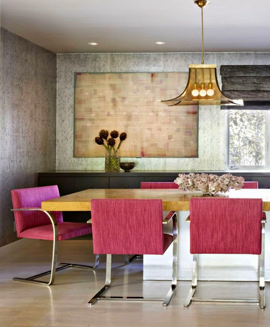 modern hot pink chairs in dining room