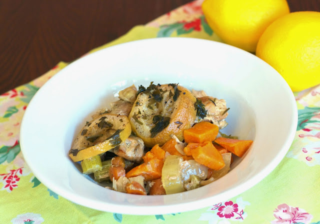 Slow Cooker Lemon Sweet Potato Chicken- simplelivngeating.com