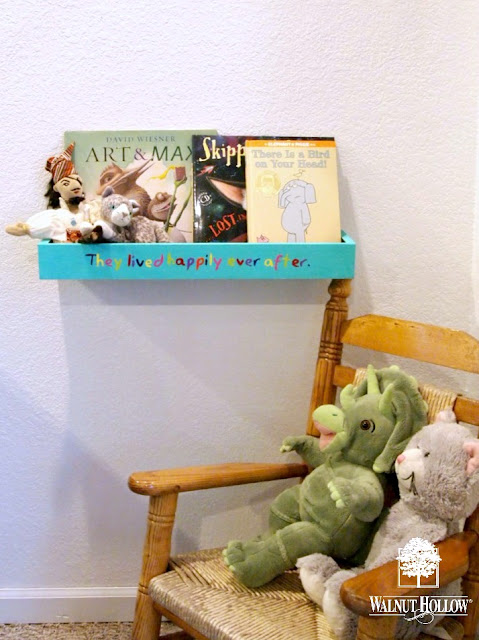 DIY Floating Bookshelf over at Walnut Hollow Blog! It's perfect for toddlers's books so that they can see the covers!
