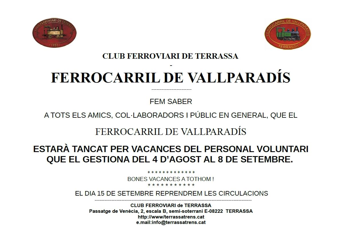 Avís de vacances del Tren de Vallparadís