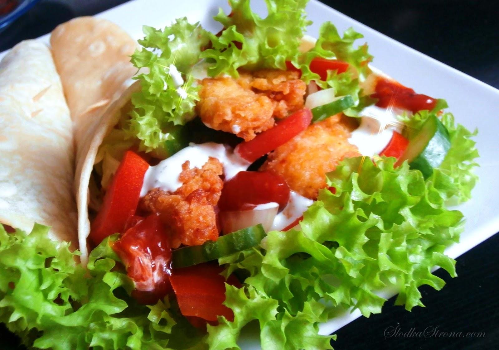 Tortilla ze Stripsami, z Kurczakiem - Przepis - Słodka Strona