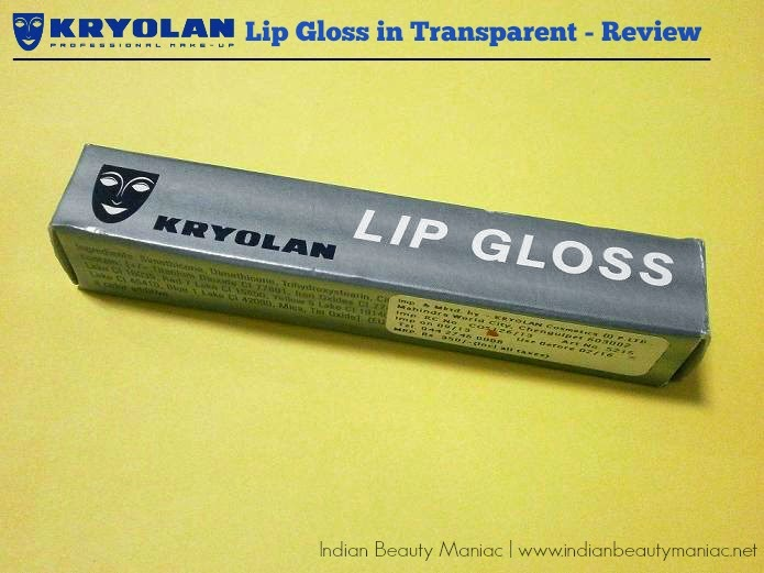Kryolan Lip Gloss in Transparent review swatch by Indian beauty blogger