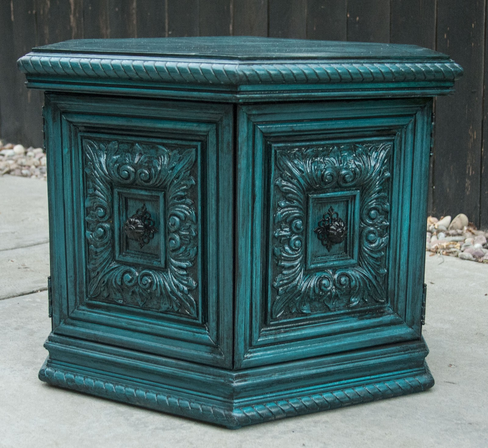 modernly shabby chic furniture peacock blue side table. Black Bedroom Furniture Sets. Home Design Ideas