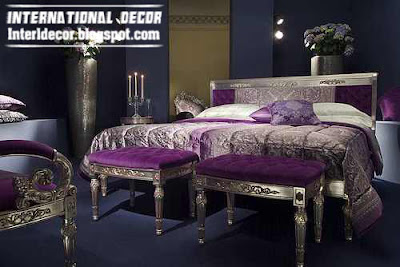 modern luxury Turkish bedroom furniture, purple and silver bedroom furniture