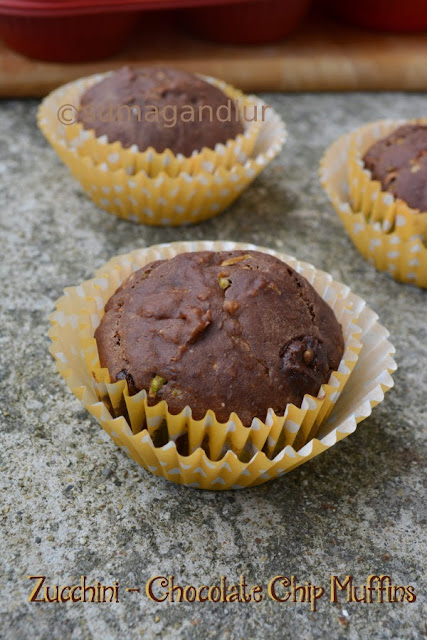Eggless Zucchini- Chocolate Chip Muffins