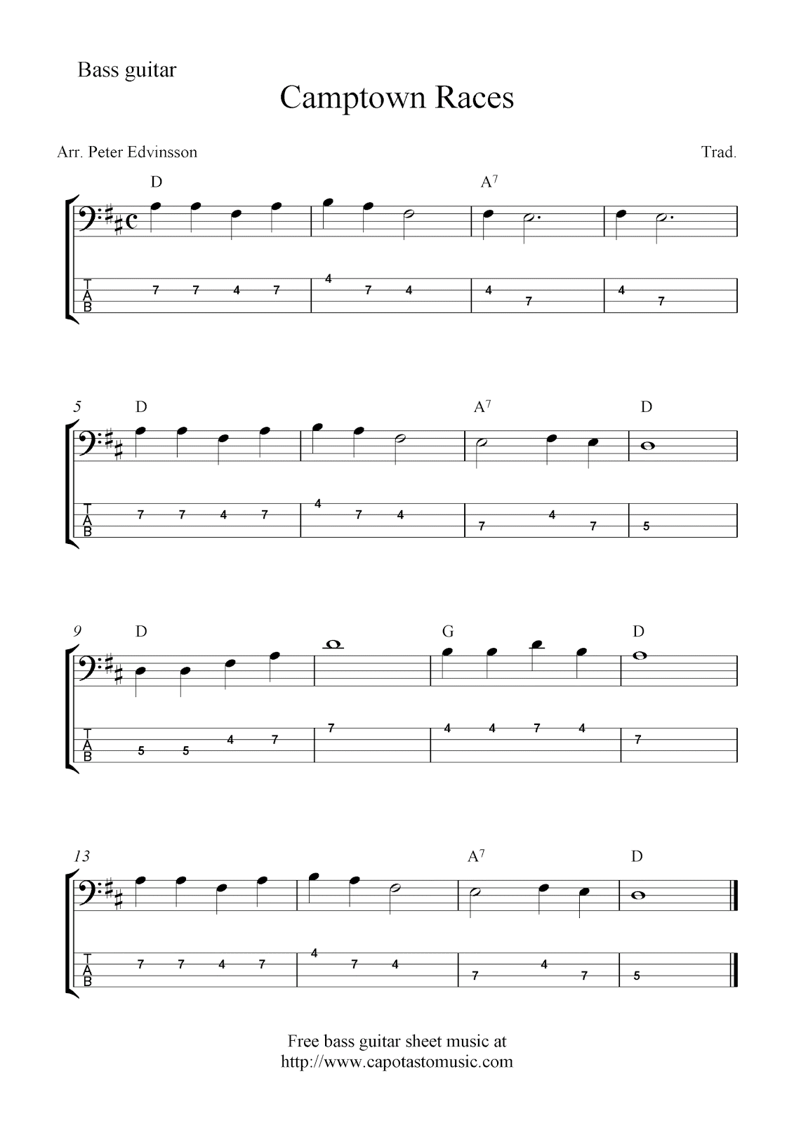 Free bass guitar tab sheet music, Camptown Races