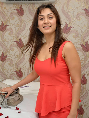 Manjari+(43) Manjari Phadnis Super Hot Photos in Red Dress At The Launch Of Naturals Family Salon & Spa