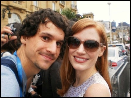 Juan Roures (autor de 'La estación del fotograma perdido') y Jessica Chastain