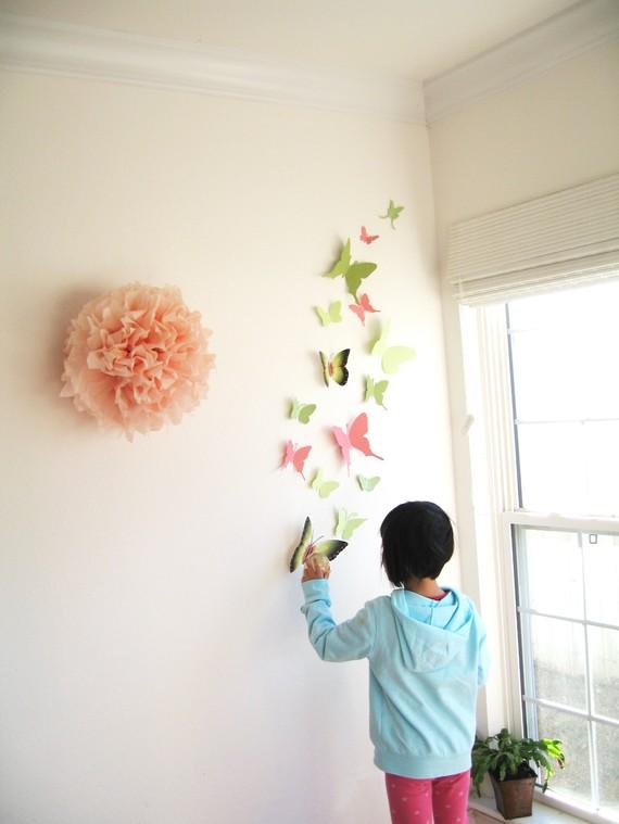 Moki deco blog decorar con mariposas de papel un estilo for Decorar pared con papel