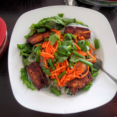 Hoisin Baked Tofu Vermicelli:  A vegetarian rice noodle salad with vegetables, herbs, and sweet and salty baked tofu.