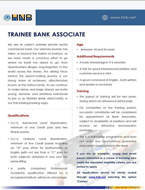 Trainee Banking Associate - HNB   Job Vacancies in Sri ...