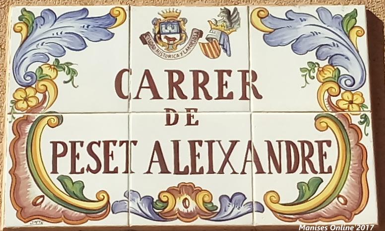 28.10.17 CARRERS-CALLES DE LA CIUDAD DE MANISES: PESET ALEIXANDRE