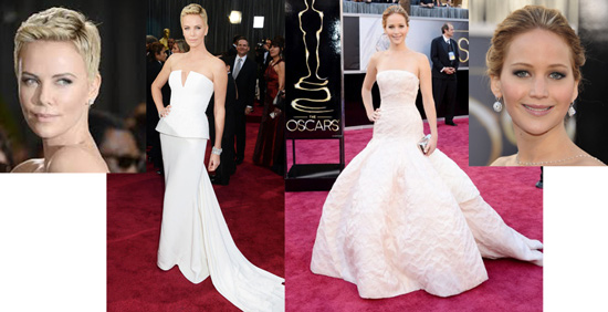 Charlize Theron and Jennifer Lawrence both in Dior Couture