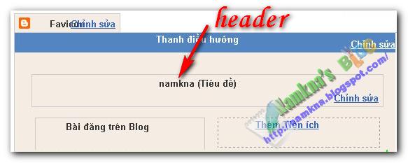 """Tạo khung """"Thêm tiện ích"""" (Add Widget) cho Header của blogger"""