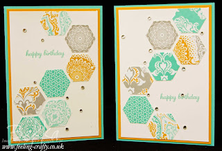 Hexagon Birthday Cards featuring the Eastern Elegance Designer Series Papers from Stampin' Up!  just two of the great cards of Bekka's Blog - check it out!