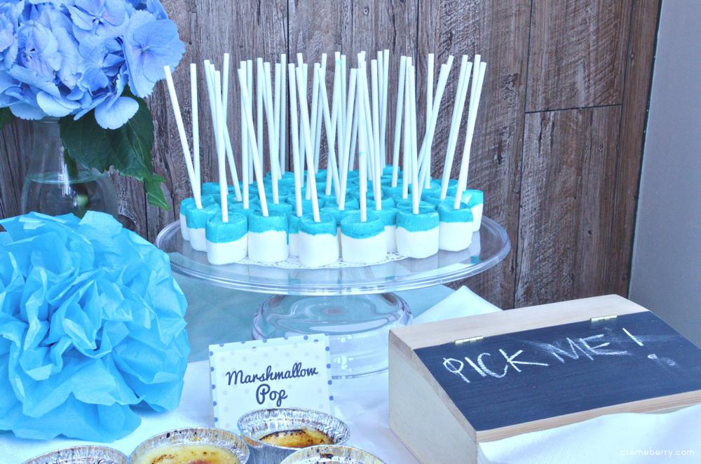blue baby shower dessert table