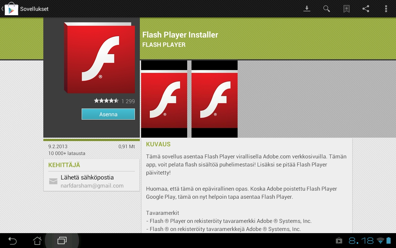 Flash player ei asennu