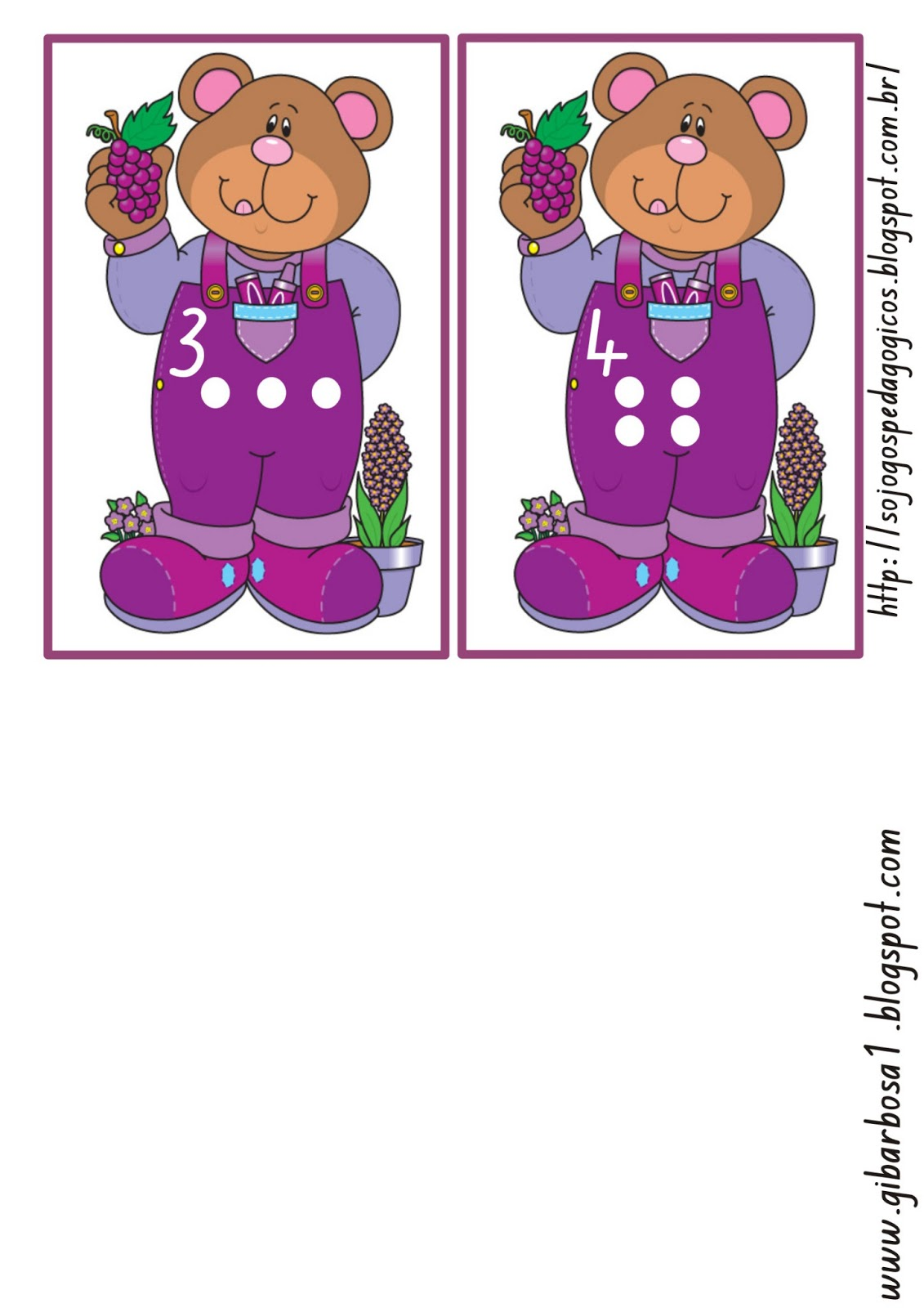 Flash Cards Ursinhos para trabalhar Número e Quantidade
