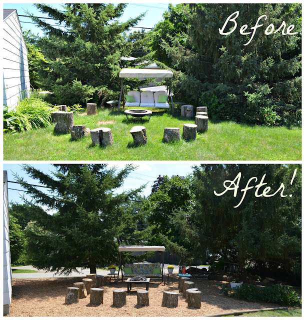 before and after of fire pit transformation
