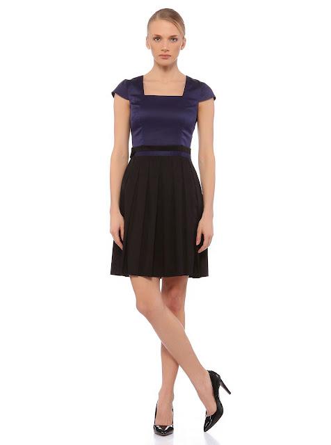 kare yaka, kısa siyah elbise
