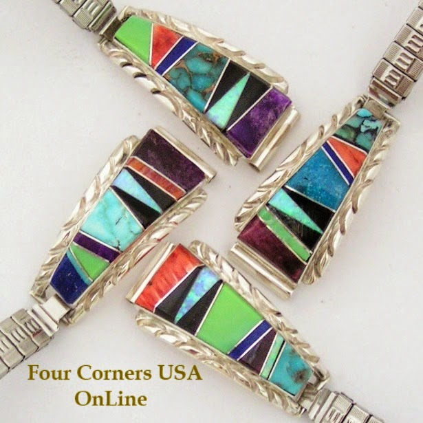 Navajo Silver Inlay Women's Watches Four Corners USA OnLine Native American Jewelry