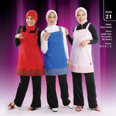 Busana Muslim Qirani Merah cabe Pink lembut Biru benhur