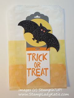 Bat Halloween Treat Bag made with Stampin'UP! Glassine Bags and Owl Punch