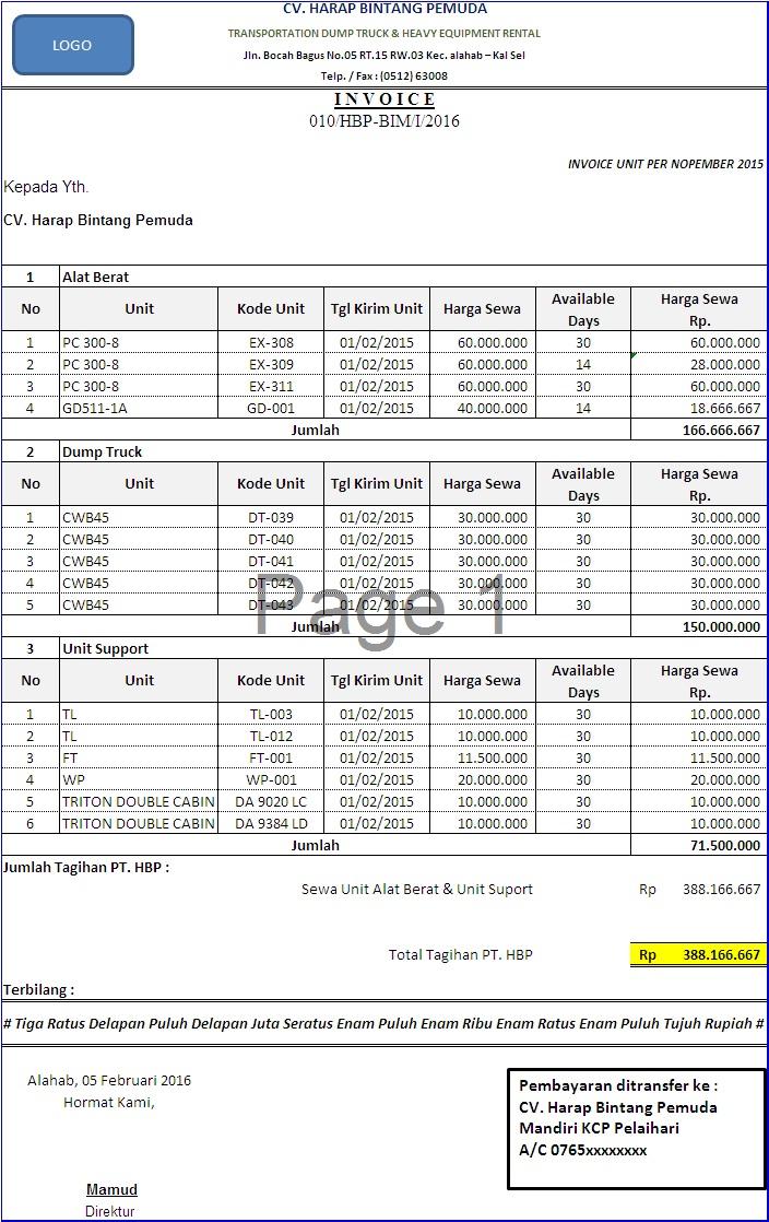 Contoh Surat Tagihan Alat Berat Free Download Images