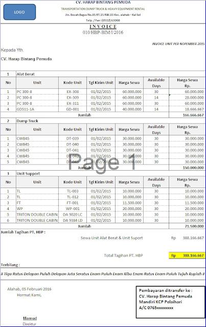 Contoh Form Invoice Alat Berat
