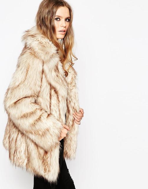 cream brown fur coat, asos faux fur coat, faux fur jacket,