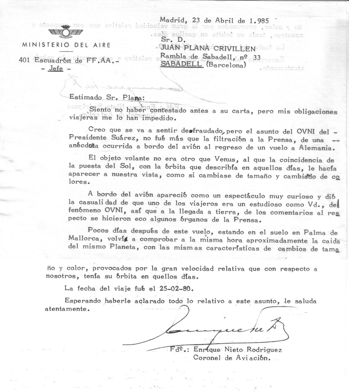 descripción del avistamiento del coronel Nieto