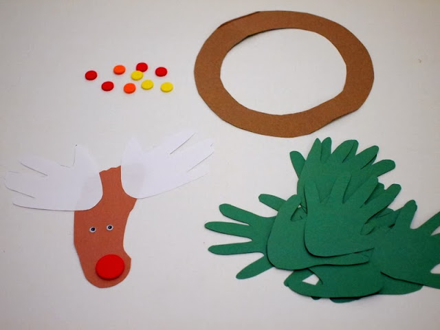 parts needed to make handprint and reindeer wreath craft