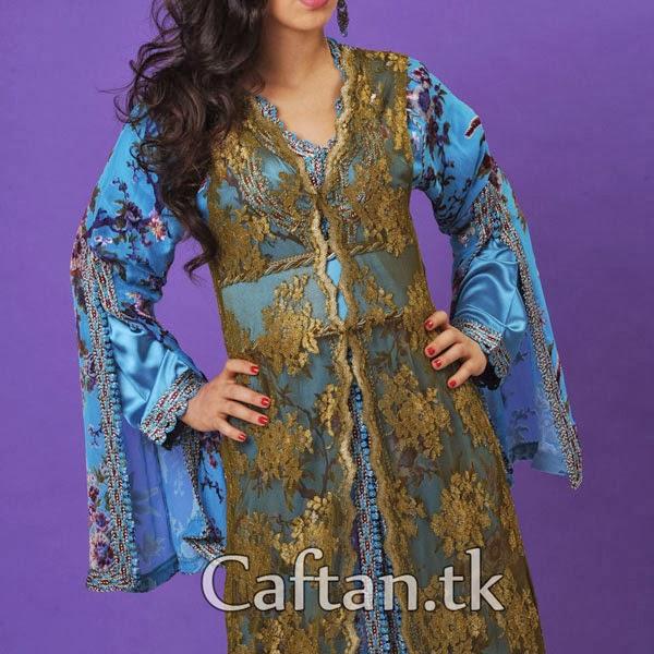 Caftan-Bleue Ravissante-De-Trois-Pièces