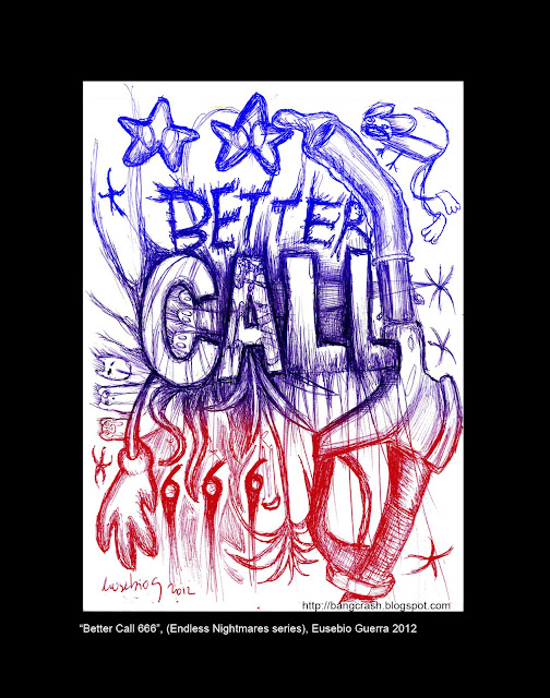 Better Call 666, Endless Nightmares series, Eusebio Guerra, 2012, drawing + digital manipulation