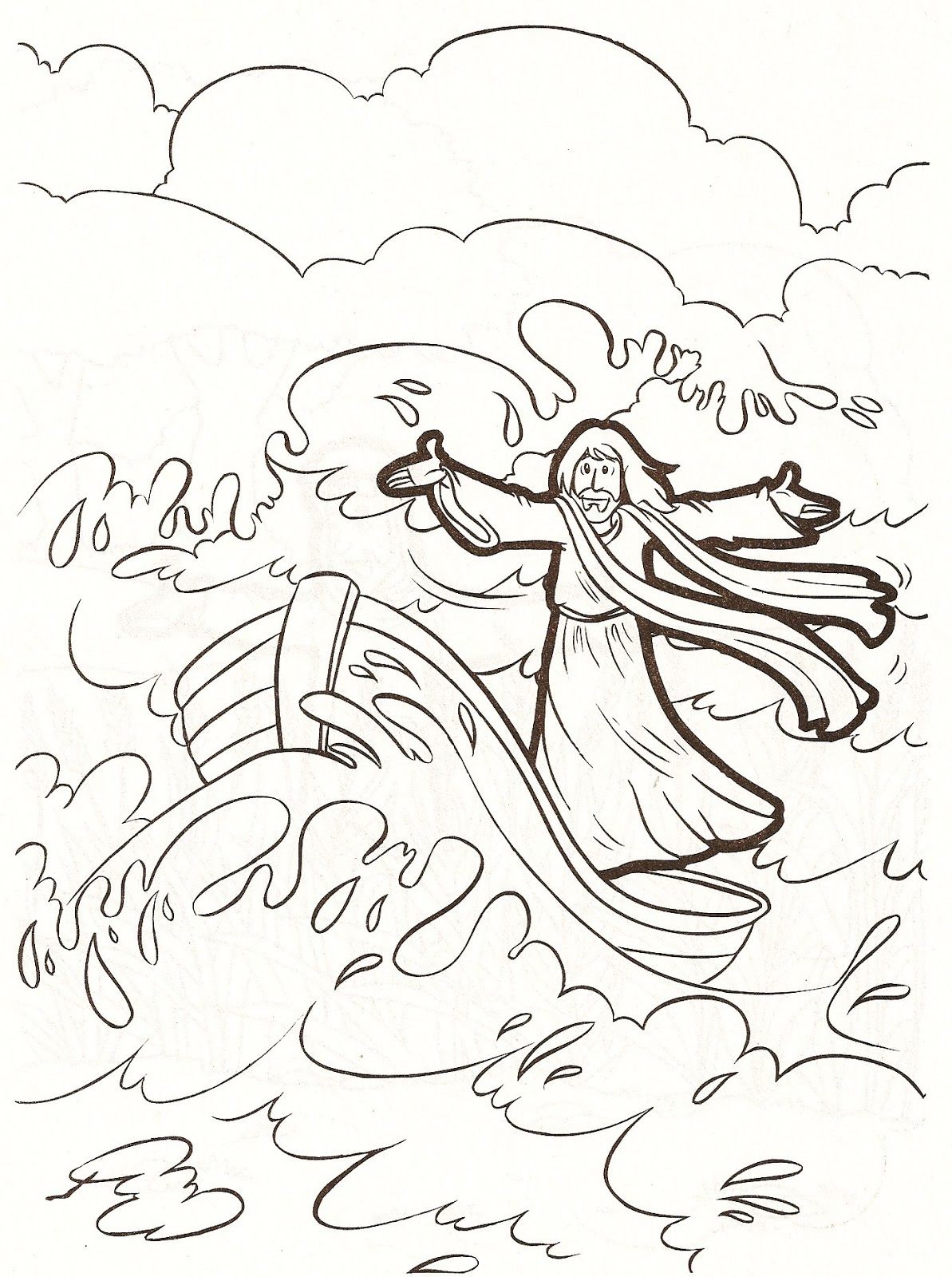Jesus And The Storm Coloring Pages Pictures to Pin on Pinterest