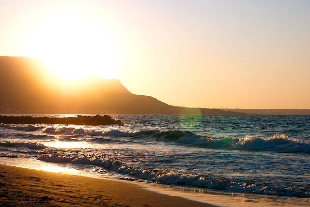 Malia Beach at sunset in Crete, Greece. Photo: Henry Jackson Photography. Unauthorized use is prohibited.