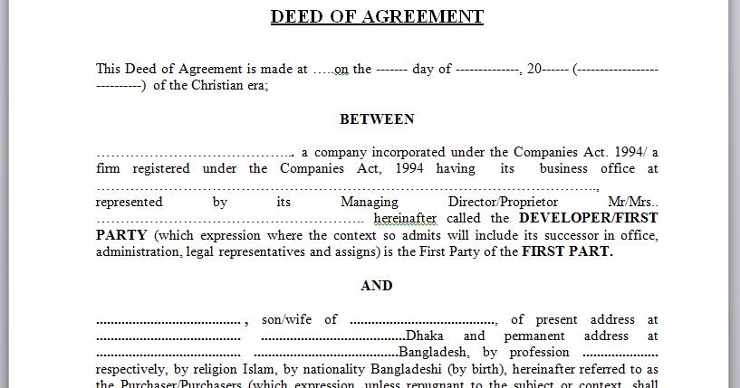 Real Estate Housing info of Dhaka Bangladesh Sample Agreement – Sample Contract for Deed