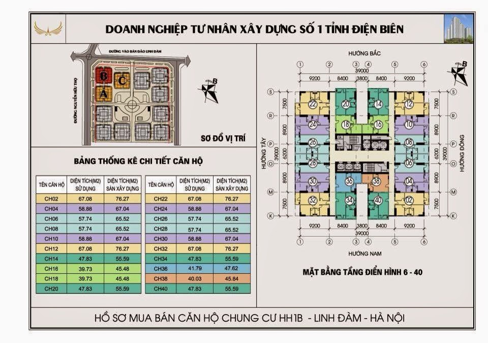 sơ đồ mặt bằng thiết kế tầng 6 - 40 hh1b linh đàm
