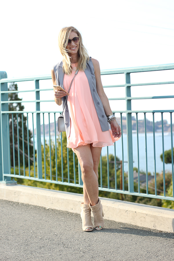 grey blazer vest with a dress