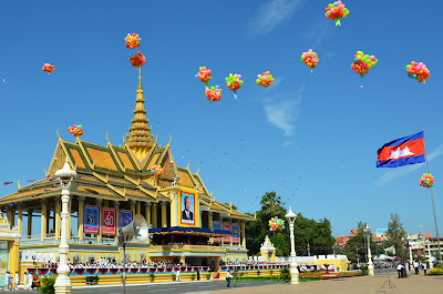 Balloons over the Chanchhaya Pavilion at birthday celebration of King Sihanouk of Cambodia