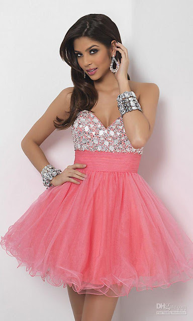 Charming a line sweetheart tea length prom dress with silver jeweleries