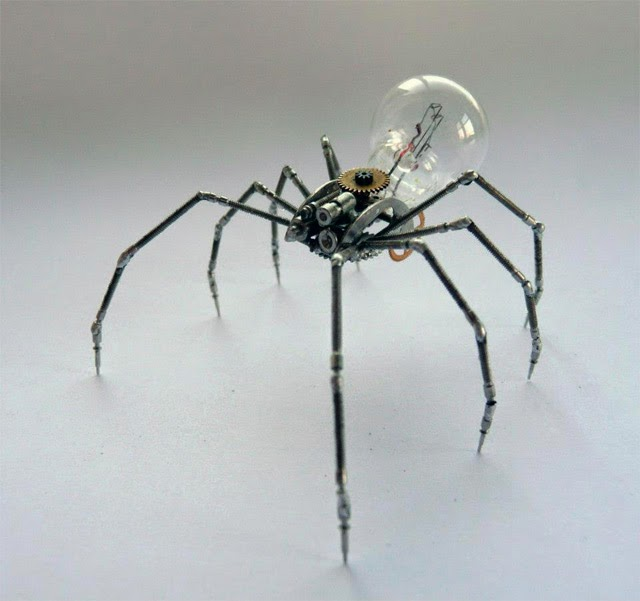 http://www.thisiscolossal.com/2012/11/mechanical-arthropods-and-insects-made-from-watch-parts-and-light-bulbs/