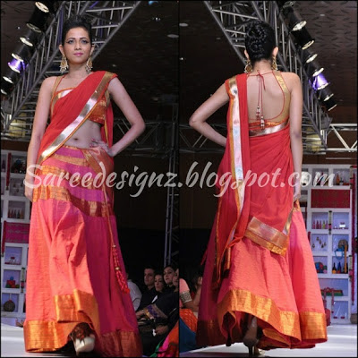 fashion week show half sari pictures