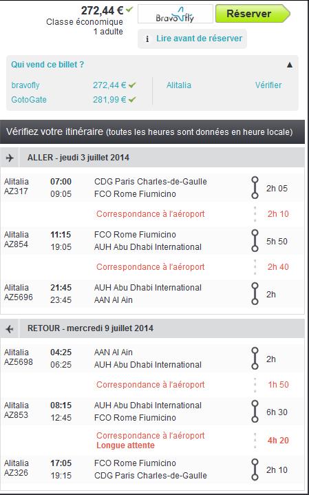 Vol Al Ain avec Alitalia