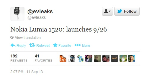 Nokia Lumia 1520 Launch Date