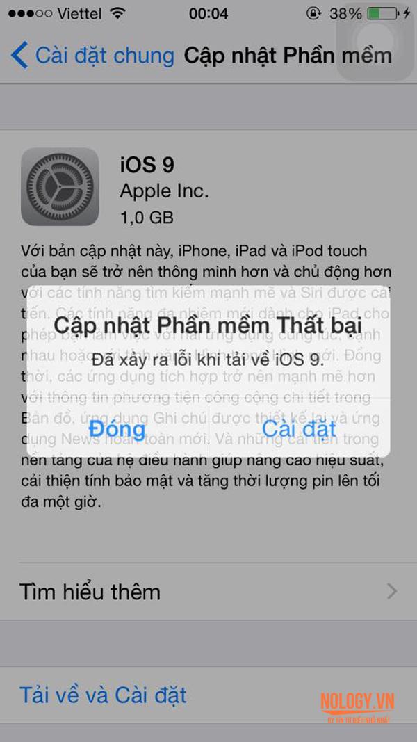 IOS 9 bị lỗi trên iPhone 6 lock