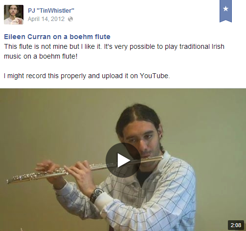 Eileen Curran on a boehm flute (video on FB)