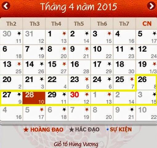 Lịch nghỉ lễ 30-4, 1-5 nghỉ lễ 2015