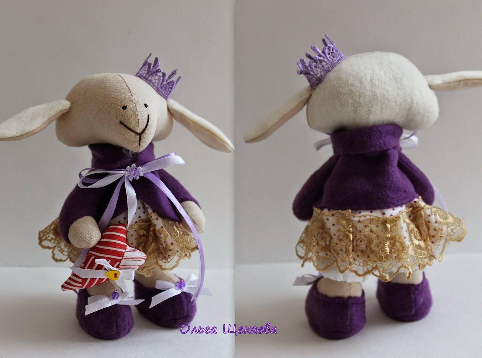 текстильная овечка, игрушка