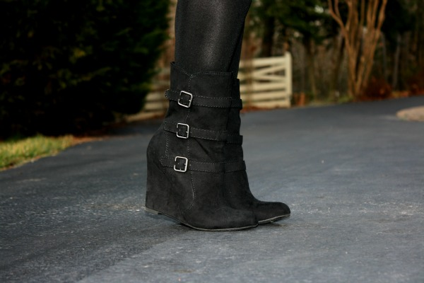 Forever 21 Buckle Wedge Boots